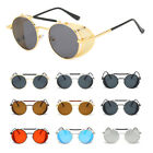 Vintage Retro Steampunk Gothic Side Shield Hipster Round Sunglasses UV Protect