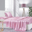 Lanest Housing Silk Satin Sheets, 3-Piece Twin Size Satin Bed Sheet Set with Dee