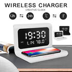 Electric LED Alarm Clock With Phone Wireless Charger Table Digital Thermometer