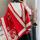 Winter Warm Thicken Scarf Flower Print Imitate Cashmere Long Shawl 2 Side Color