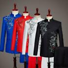 Mens Single breasted Sequins Jacket Pant Suits Costume Slim Fit Floral 2PCS New