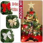 24X+Bowknot+Christmas+Tree+Ornaments+Xmas+Home+Party+Garden+DIY+Decorations+UK