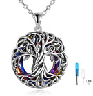 925 Sterling Silver Tree Of Life Pendant Necklace Jewelry with Crystal 18+2 inch