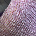 "AAA Natural Rarest Kunzite Spodumene Faceted Gemstone Round Beads 15""Str 3mm-4mm"