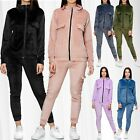 Women Nicki Suit Cargo Jogger Homewear Two Piece Sports Set Velour Basic Leisure
