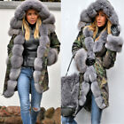Roiii Womens Winter Thick Faux Fur Hooded Plus Size Parka Jacket Coat