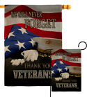 We will Never Forget Burlap Garden Flag Service Armed Forces Yard House Banner