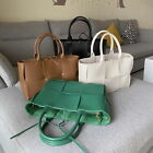 2 Pcs Real Leather Woven Tote Arco Shaped Shoulder Bag Purse Crossbody 2 Handles