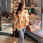 Lady Knit Pullovers Fruit Jacquard Sweater Jumper Casual Loose Orange Tops Multi