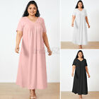Womens Short Sleeve V Neck Cotton Long Maxi Dress Casual Loose Beach Shirt Dress
