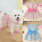 Lovely Floral Print Dog Dress Puppy Cat Summer Cotton Bow Skirt Clothes XS-L