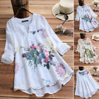 US STOCK Women Summer Casual Button V Neck Shirt Tops Floral Print Loose Blouse