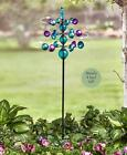 Colorful Metal and Crackle Glass Balls Garden Kinetics Wind Spinners
