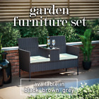 Rattan Garden Love Seat Bench 2 Seater Twin Double Chair Table For Couple Patio