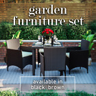 Rattan Dining Set 4 Seater Garden Furniture Chairs Glass Table Patio Outdoor