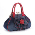 personality fashion jeans flower cluth purse shoulder bag Handbag