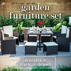 Rattan Garden Furniture 8 Seater Outdoor Dining Table Chairs Cube Patio Set