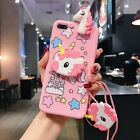 Hot Cute Cartoon Unicorn Doll Soft +Lanyard Bracket Cover For Various Phone Case