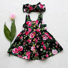 Toddler Kids Baby Girl Princess Dress Floral Dresses Headband Outfits Clothes
