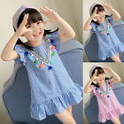 Toddler Baby Girls Fly Sleeve Tassels Ruffle Stripe Print Princess Dress Outfits