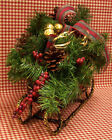 HOLIDAY CHRISTMAS SLEIGH GREEN & RED PINE CONES BOUGHS