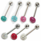 DIAMANTE GEM BLING BARBELL TONGUE NIPPLE PIERCING STUD