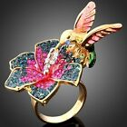 ARINNA hummingbird Flower Swarovski Crystal GP rings