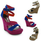 NEW LADIES PARTY STRAPPY OPEN TOE PLATFORM WEDGE SHOES