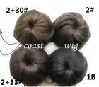 Black Brown Pony Tail Hair Extension Scrunchie Bun