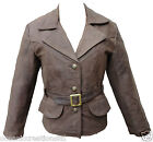 Ladies Brown Motorbike Motorcycle Biker Style Leather Jacket