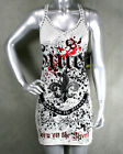 SMET BY Audigier tank Dress FLEUR Studs rocker foil