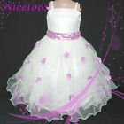 Purple Gorgeous Wedding Party  Flower Girls Dress  3-7Y