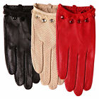 Women's GENUINE LAMBSKIN leather perforated lace gloves