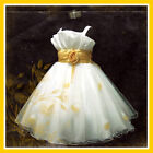 Gold White Party Flowers Girls Dress 2-3-4-5-6-7-8-9-10