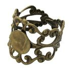 Ring Base Filigree  Antique Bronze Silver Plated Component 2pcs- Pick.