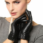 Plain style lady elegant genuine lambskin leather gloves for winter L113NC