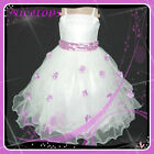 PU408 Purples White Christmas Wedding Party Flower Girls Dresses AGE 2-3-4-5-6-7
