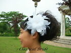 "#904 ""HIBISCUS"" FEATHER HAIR FASCINATOR Clip In Ivory / White For Birdcage Veil"