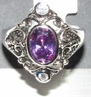 NWT .925 Sterling Silver Amethyst Filigree Ring Size 8