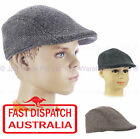 KID BASEBALL CABBIE DRIVING IVY GOLF FLAT NEWSBOY CAP SUN HAT TWEED BLACK / GREY