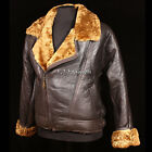 Men's Aviator Ginger Brown Real Shearling Sheepskin Leather Bomber Flying Jacket