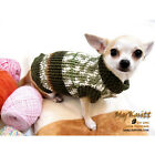 Handmade Crochet Jumper Dogs Clothes Chihuahua Pet Sweater Knit Olive Green D866