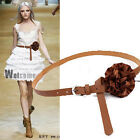 Women's Leather Feel Skinny Floral Waist Belt with Flower Patels Decoration Lady