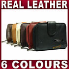 Ladies Quality Leather Purse zipped coin section Black red brown +more wallet