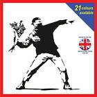 Banksy style Man throwing flowers - Wall Art Decal Graphic Poster Sticker Vinyl
