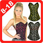 Leopard Tiger Print Satin Ladies Lingerie Rockabilly Burlesque Corset Costume