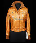 Natalie Tan New Ladies Women's Retro Vintage Bomber Real Sheep Leather Jacket