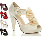 WOMENS LADIES HIGH HEEL PLATFORM WEDDING EVENING SANDALS BRIDAL PROM SHOES SIZE