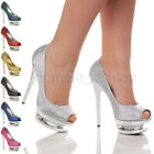 WOMENS LADIES HIGH HEEL PLATFORM WEDDING BRIDAL PROM PEEP TOE PARTY SHOES SIZE