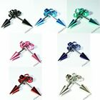 SILVER BLACK RED PINK PURPLE SPIKE EAR STUDS EARRINGS PIERCING PUNK KITSCH